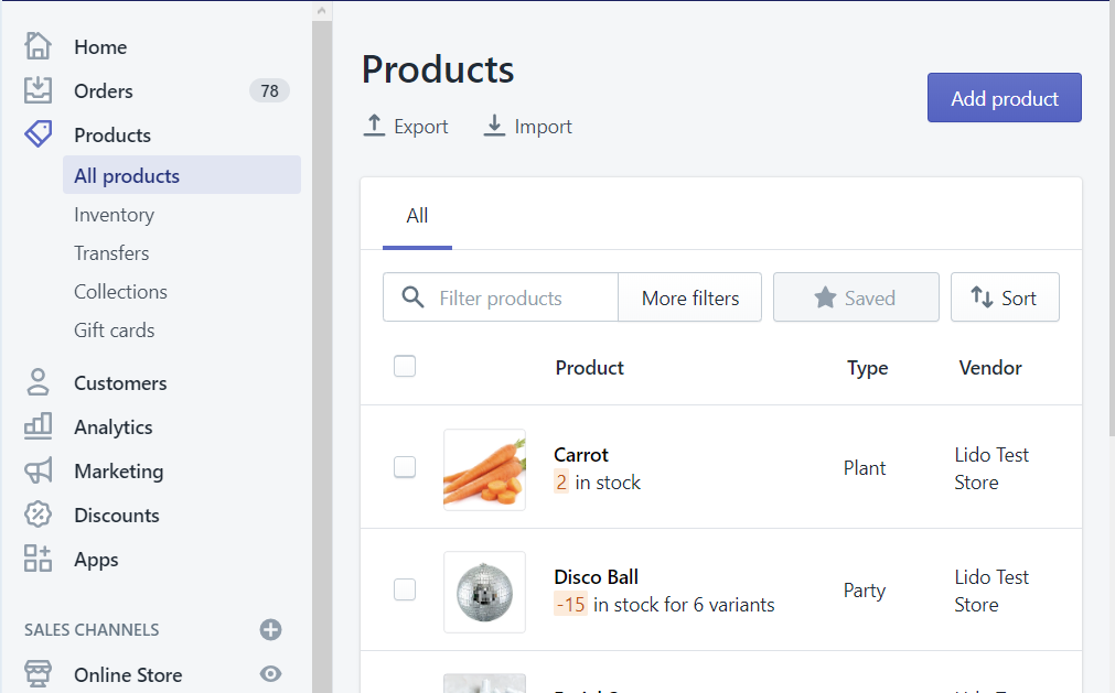 Products tab on Shopify admin account