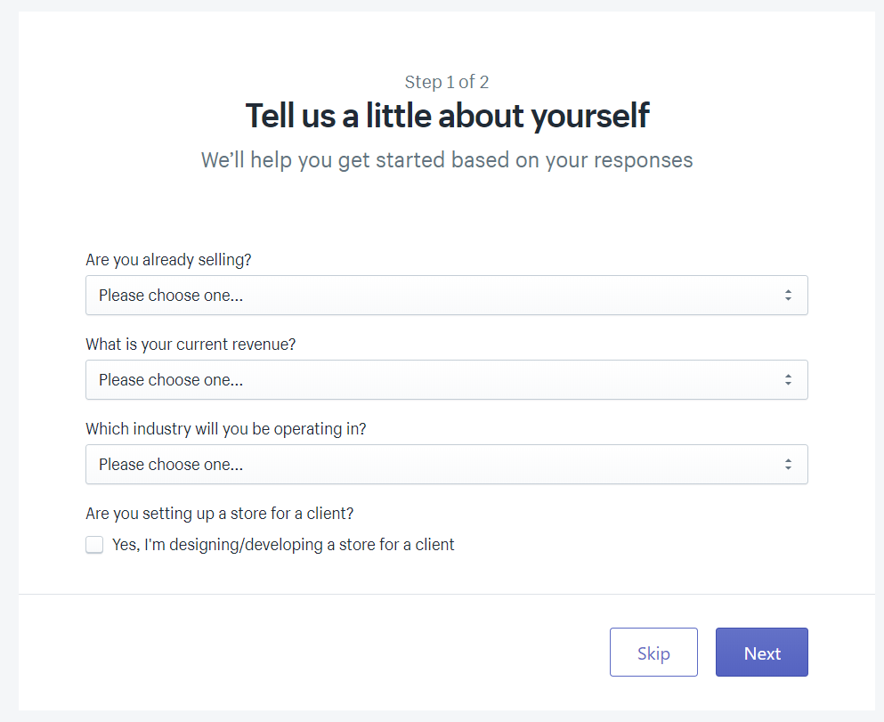 Shopify's Tell us a little about yourself prompt