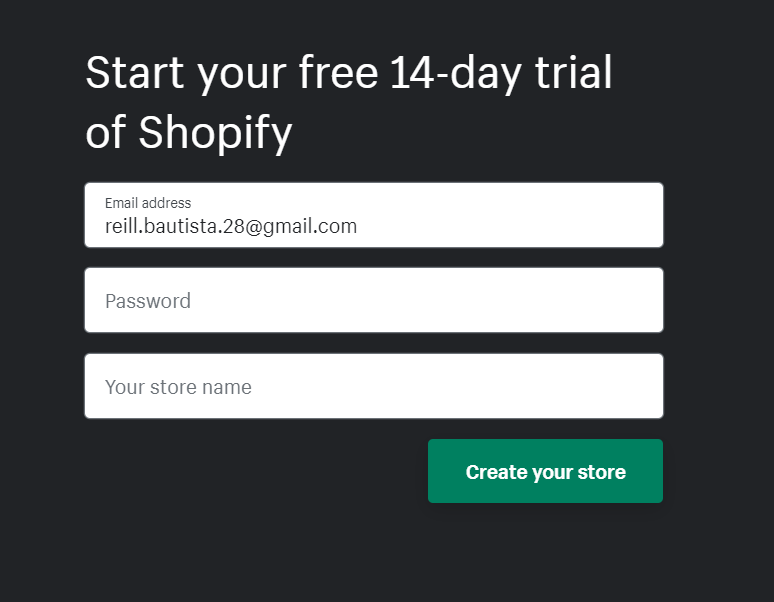 Email and password prompt for Shopify