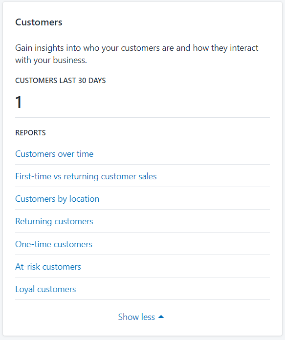 Customer information box on Shopify, shows available reports