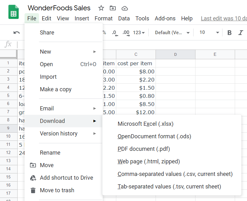Image: Formats for downloading Google Sheets workbook into local computer. File formats are Microsoft Excel workbook (.xslx), OpenDocument spreadsheet file (.ods), PDF document (.pdf), web page (zip file containing html files), CSV file (.csv) and tab-separated values file (.tsv)