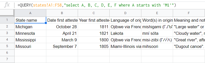 "List of states whose names start with ""Mi"": Michigan, Minnesota, Mississippi, and Missouri. Queried from the source worksheet."