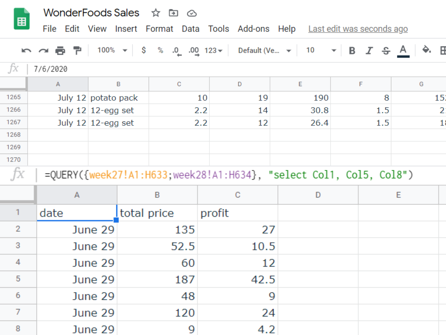 end of data displayed by query. There are 1267 rows loaded by the QUERY command. Selected columns loaded: date of entry, total price of order, and profit from the order.