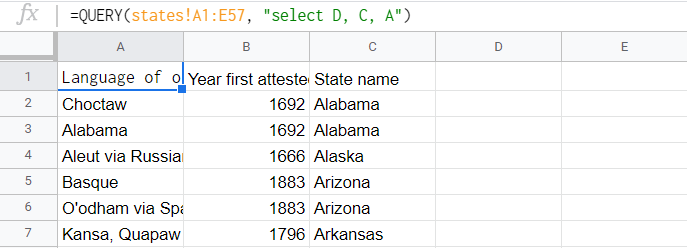 Query result listing the states, the year their name was first attested, and language of origin of their names. The order however was flipped: the language of origin of their names came first, then the year first attested, and finally the state name.