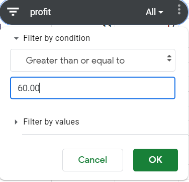 Slicer. Filter by condition selected. Greater than or equal to condition selected. 60.00 set as value.