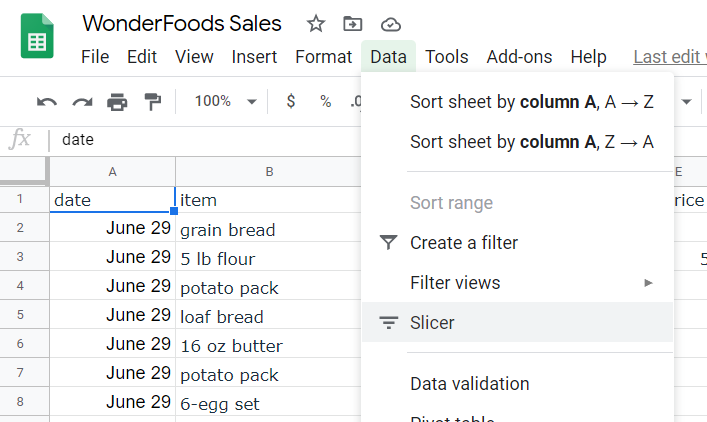 Data option in menu clicked. A drop-down menu appears. Slicer option highlighted.