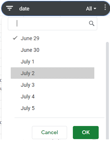 Slicer. Filter by value. Date column selected. All other dates unchecked except for June 29.