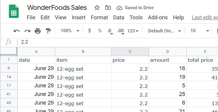 Worksheet listing only entries for 12-egg set orders.