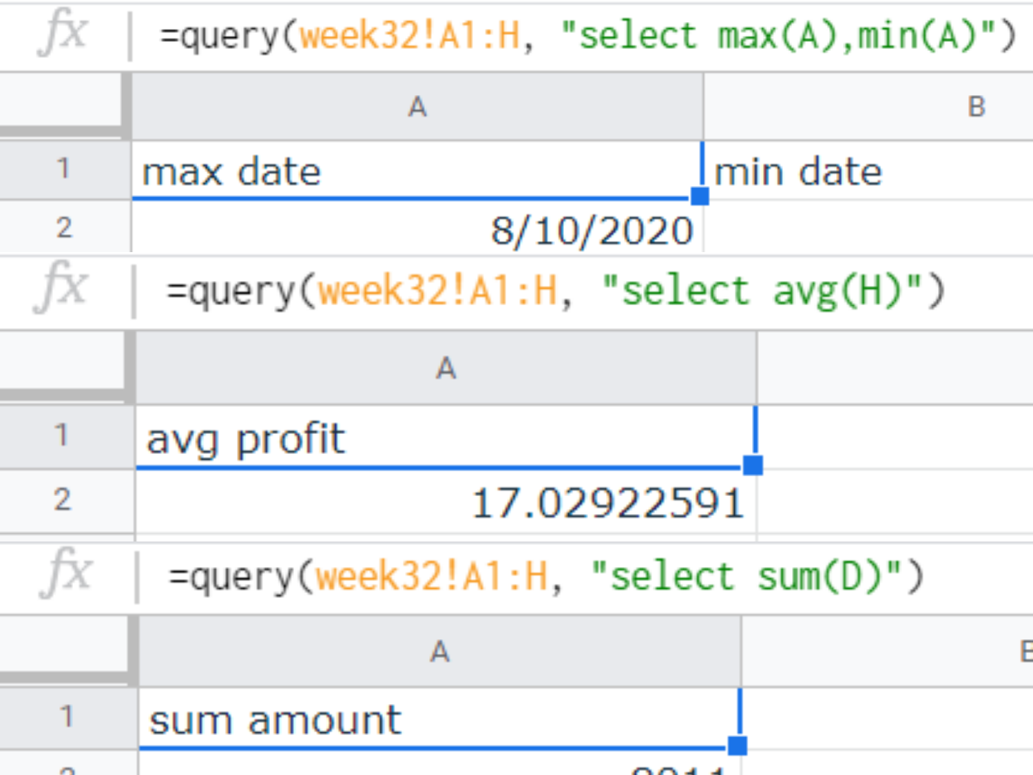 Various SQL queries for aggregate values on Google Sheets