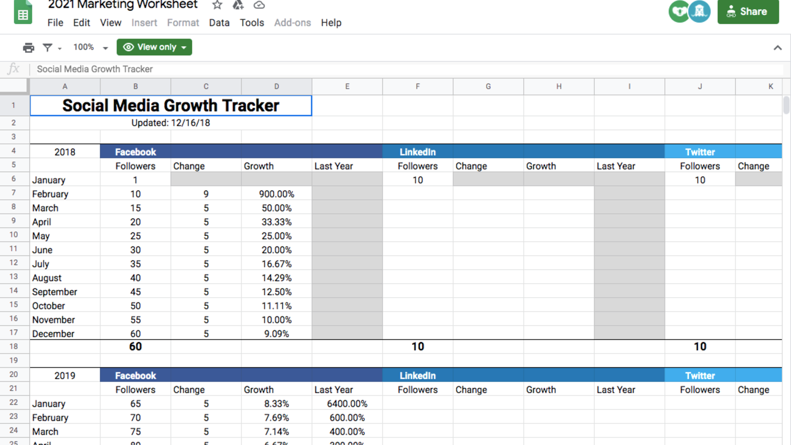 Social Media Growth Tracker Template