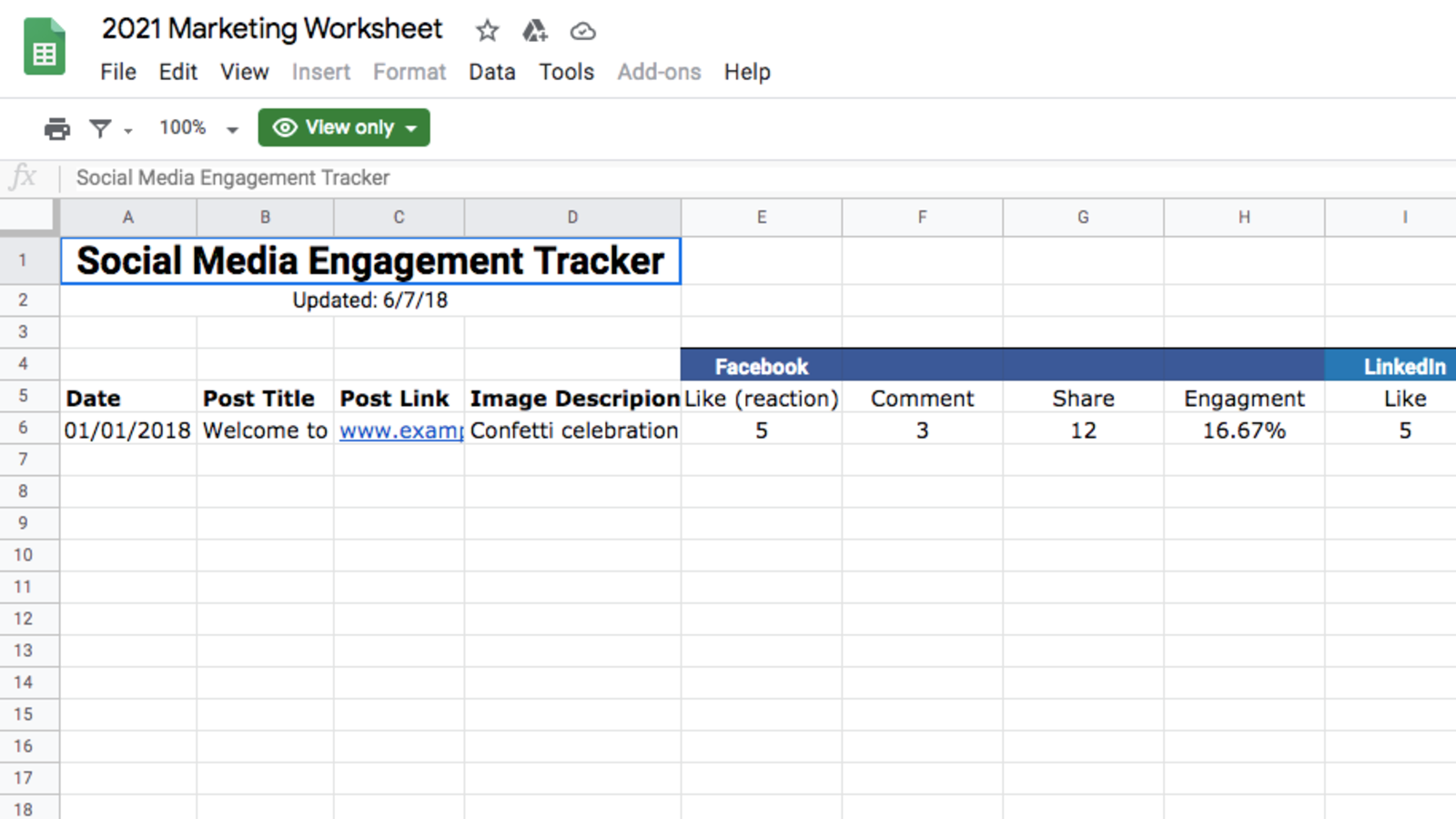 Social Media Engagement Tracker Template