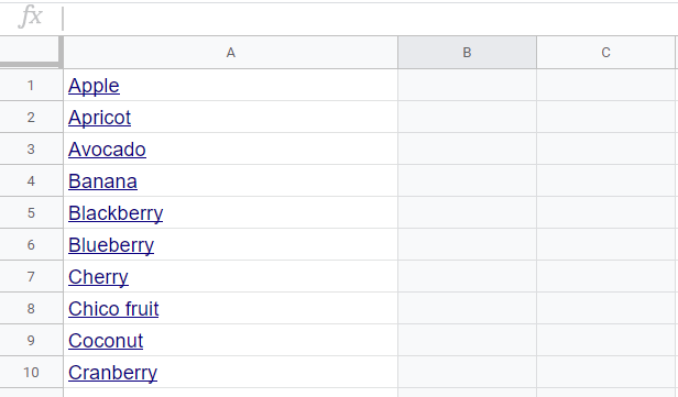 Google Sheet with list of fruit names in Column A