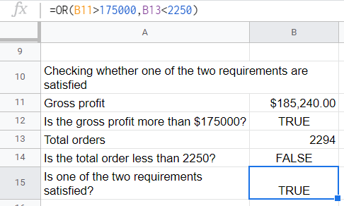 OR() function using two comparison formulas to generate a result.