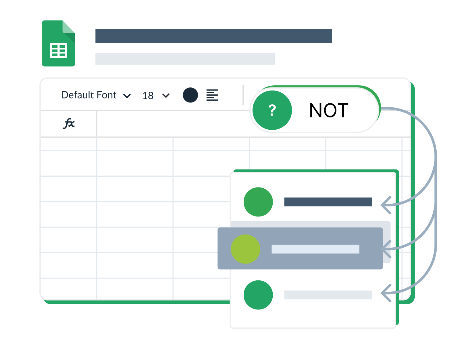 Google Sheets spreadsheet with a logical function decision on top