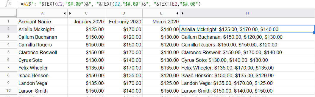 Account Name and the payments for three months listed together, with different delimiters used.