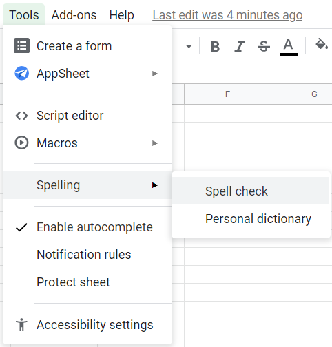 Tools menu clicked, Spelling option selected, Spell check highlighted.