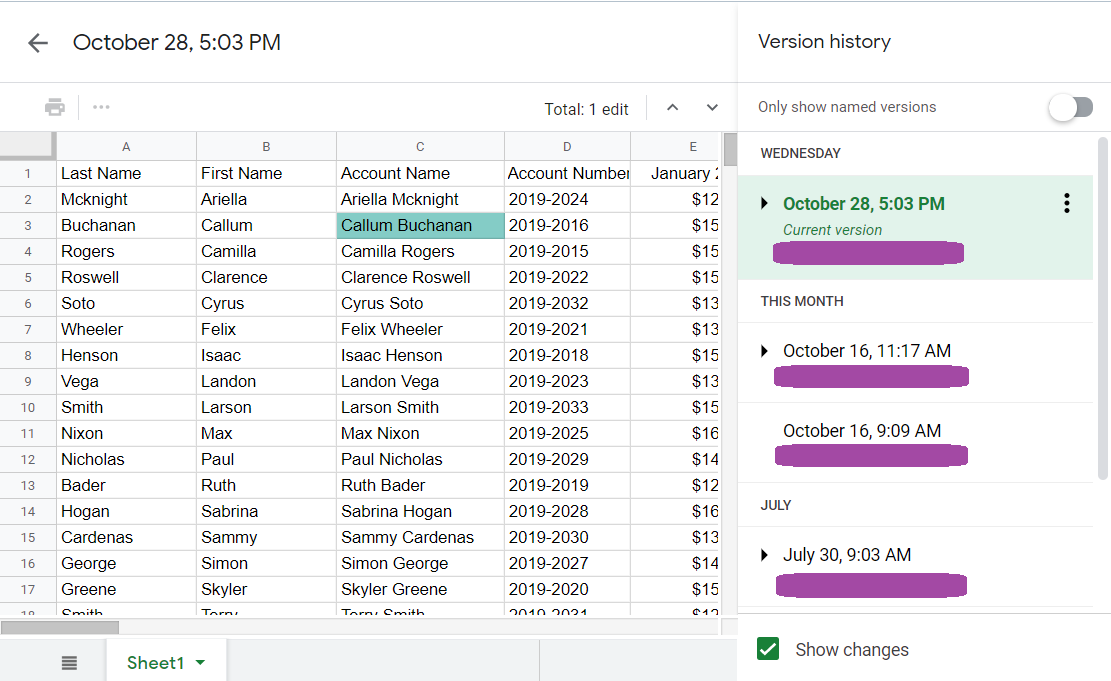 The Version history page of Google Sheets. On the right sidebar is the list of versions of the spreadsheet. The highlighted version is displayed on the left side of the page.