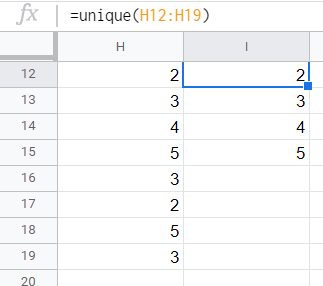 The unique entries in a selected column with repeating entries is listed in the next column using the UNIQUE() function.