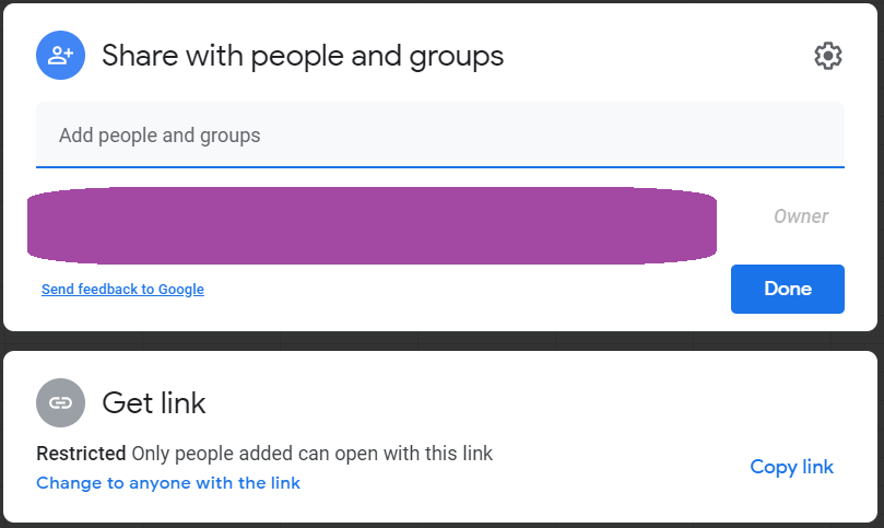 The Share with people and groups box. A space is added where you can add users by typing either their email addresses or their names if you regularly correspond with them.
