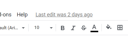 "A portion of the Google Sheets page, focused on the ""Last edit was 2 days ago"" link at the top-center portion of the page."