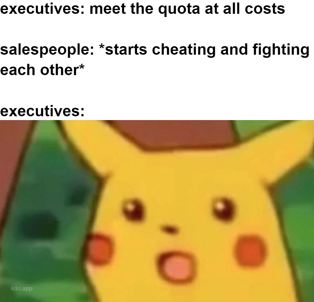 Pikachu meme being shocked at employees fighting each other to meet quota