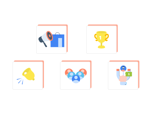 5 icons with various graphics related to communication and winning