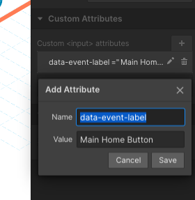 Add Attribute pop-up on Webflow with Name and Value filled in