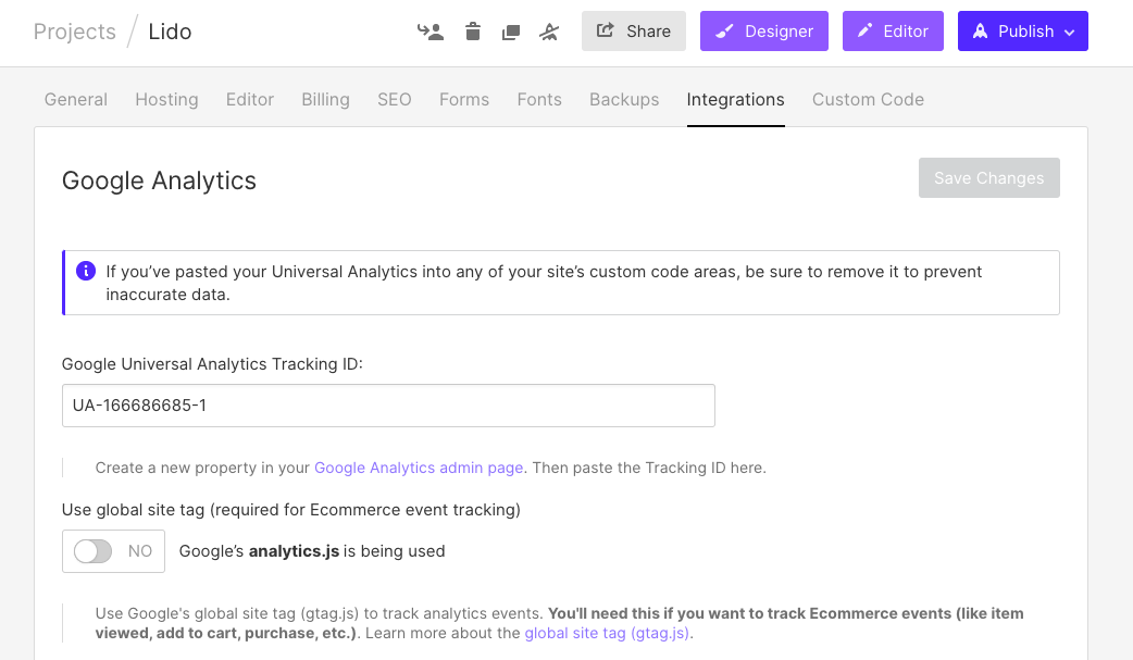 Integrations tab, specifically the Google Analytics section, on Webflow Project Settings