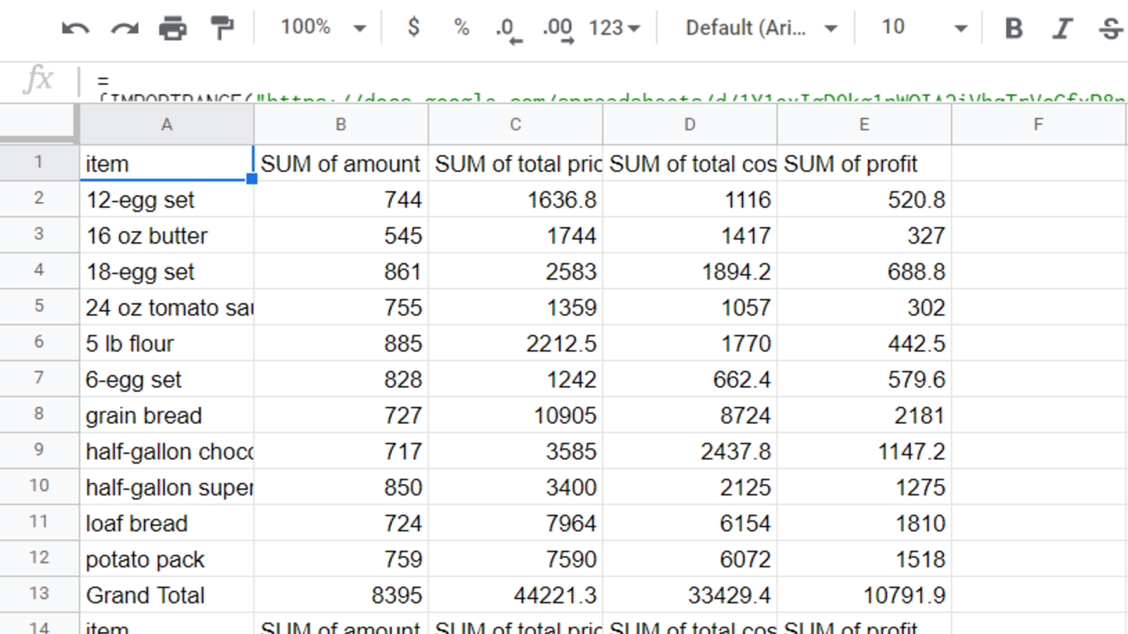 The ranges from multiple sheets combined in the single destination Google Sheet via IMPORTRANGE.