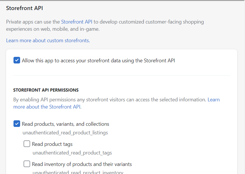 Storefront API section on Shopify