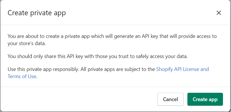Create private app pop-up box on Shopify