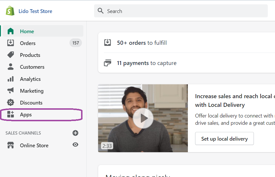 Shopify main admin page. Apps option on the main sidebar highlighted.