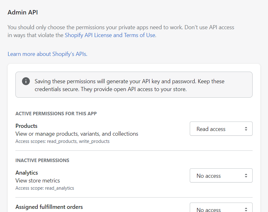 The Admin API section lists all the possible data that can be accessed via the Shopify API. Take your time on this section.