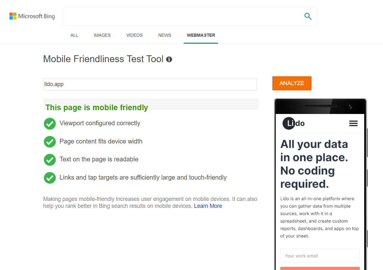 Microsoft Bing's Mobile-Friendliness Test Tool testing our website's mobile-friendliness.