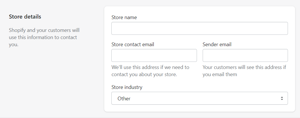 Store details in General settings of the Shopify store account