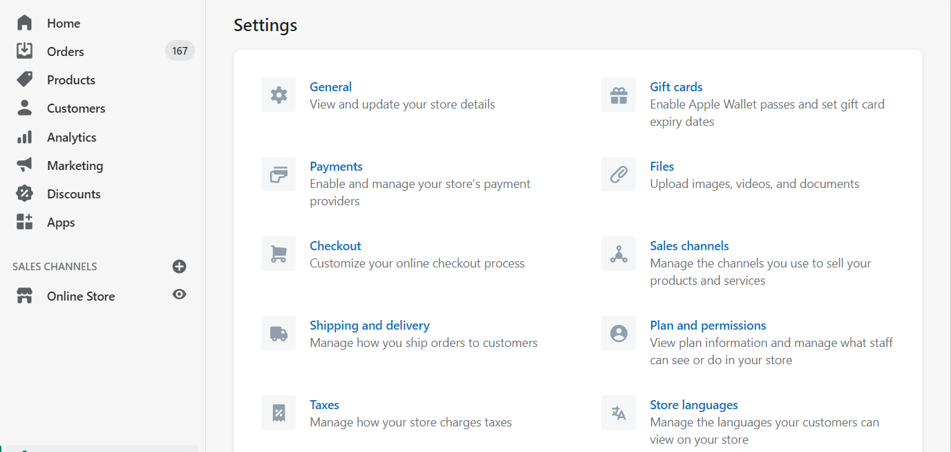 Settings page of Shopify store