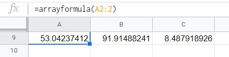 The copied row using arrayformula function