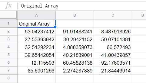 Original array with the range A2:C7