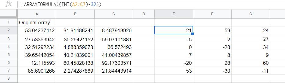 The formula applied to an entire array using arrayformula.