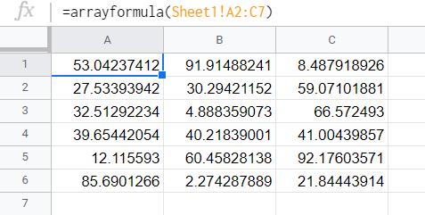 The entire array copied using arrayformula