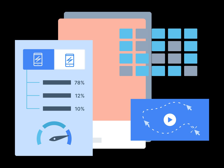 Layered graphics representing mobile-friendly eCommerce metrics
