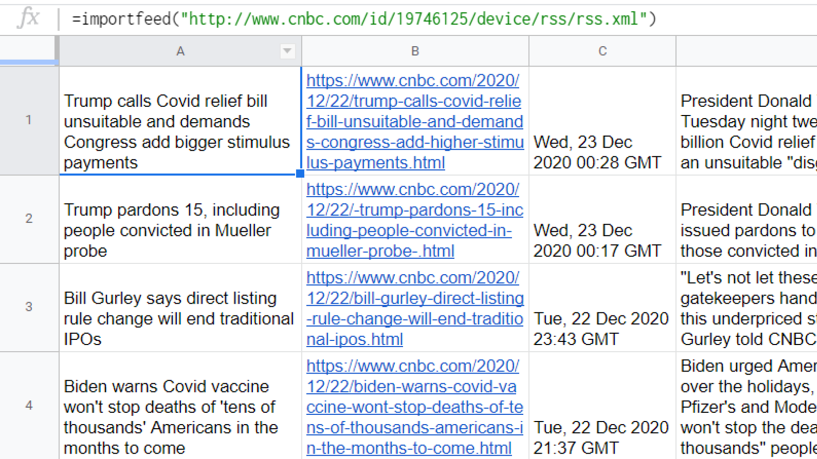IMPORTFEED importing the latest news headlines with their summary and timestamp.