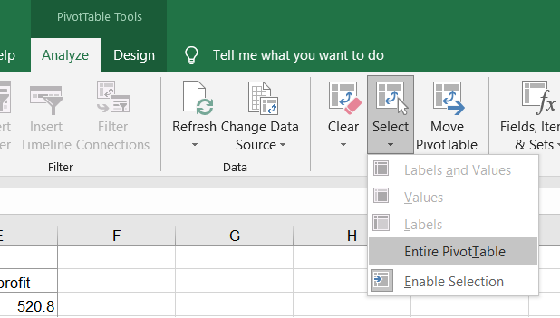 PivotTable Tools, Analyze tab, Select option selected, Entire PivotTable highlighted.