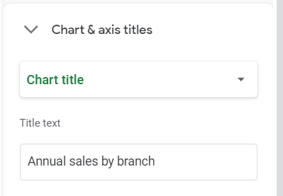 Google Sheets Chart editor, Customize tab. Chart and axis titles. Chart title selected. Title text: Annual sales by branch.