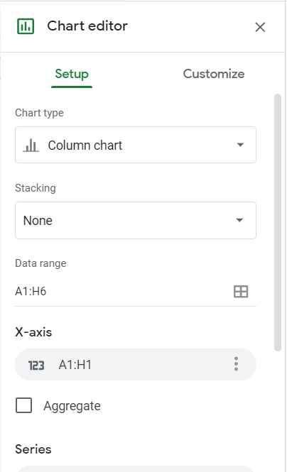 Google Sheets Chart editor. Setup tab selected. Chart type, stacking, and data range listed.