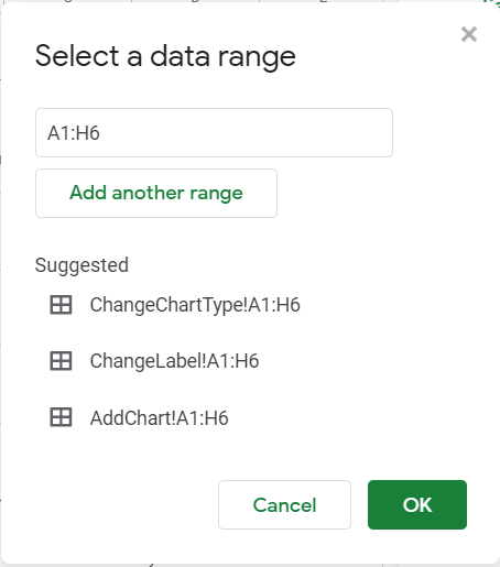 Select a data range pop-up box. Appears when you click the four-boxed symbol on the side of the textbox for data range in the Chart editor.
