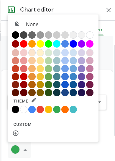 Color palette appears after clicking the format color settings.