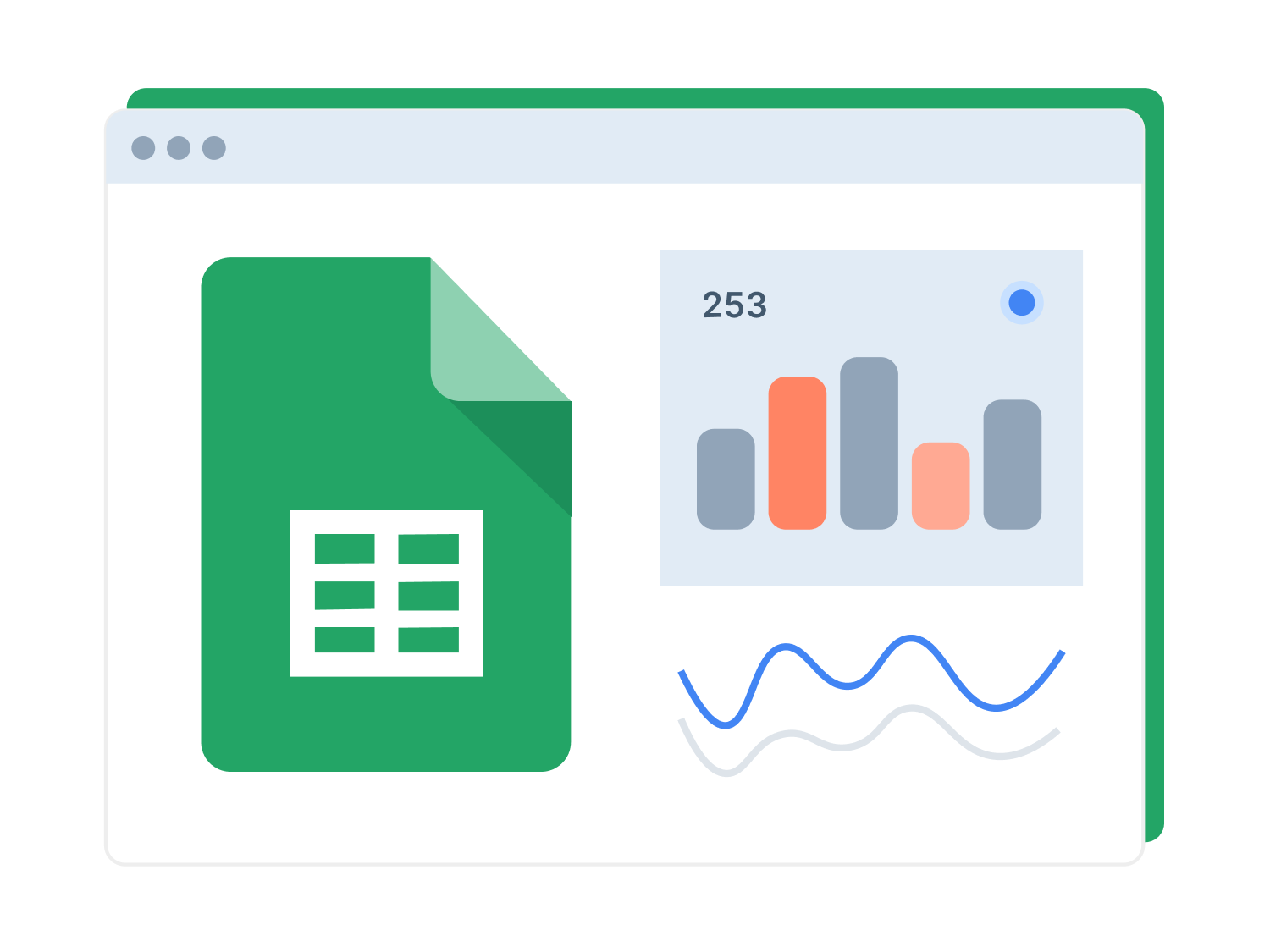 Window with Google Sheets logo and charts examples