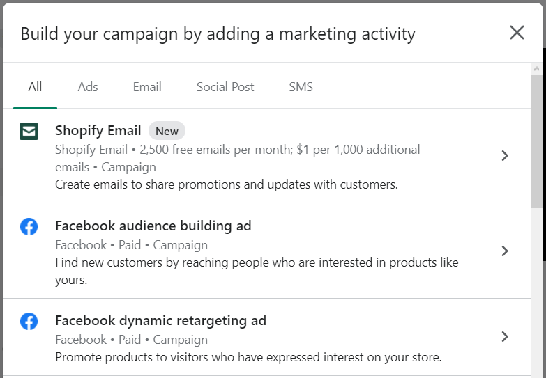 Build your campaign by adding a marketing activity box on Shopify.