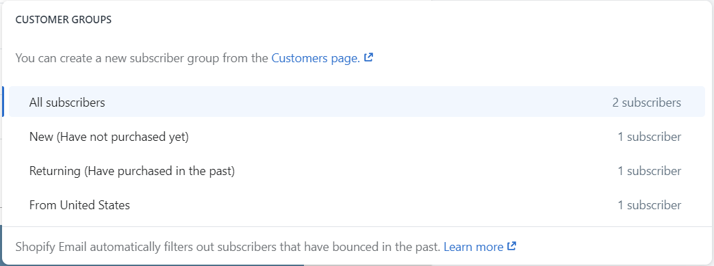 Customer groups lists. You can select a customer group as the recipient of the email.